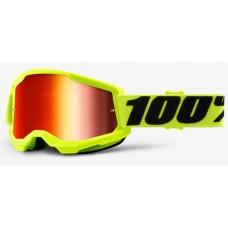 Детские мото очки 100% STRATA II Youth Goggle Yellow - Mirror Red Lens, Mirror Lens