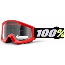 Детские мото очки 100% STRATA MINI Goggle Red - Clear Lens, Clear Lens